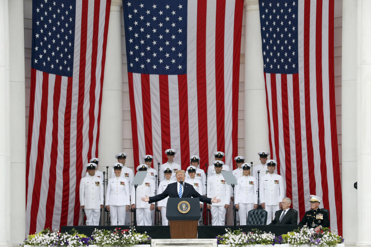 Image: President Donald Trump speaks at the Memorial Amphitheater in Arlington National Cemetery on Memorial Day, Monday, May 28, 2018 in Arlington, Virginia.