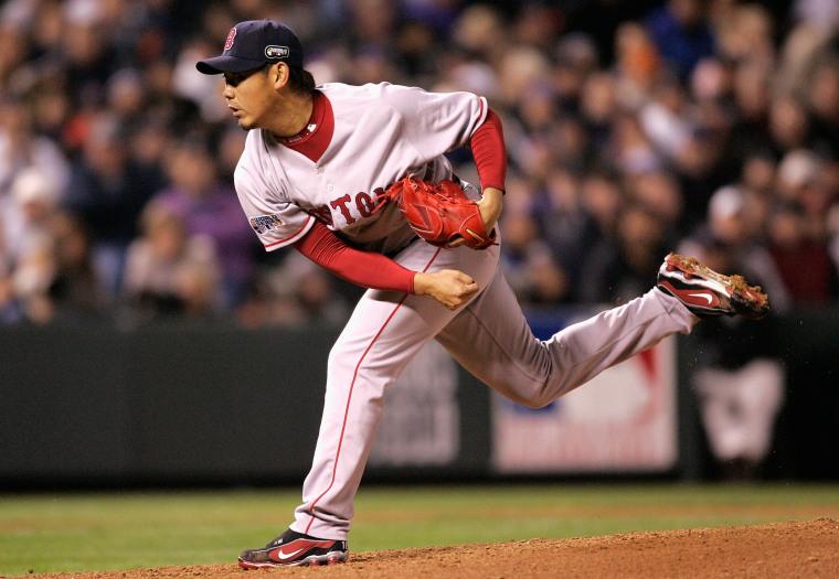 Image: Daisuke Matsuzaka pitches during the 2007 World Series