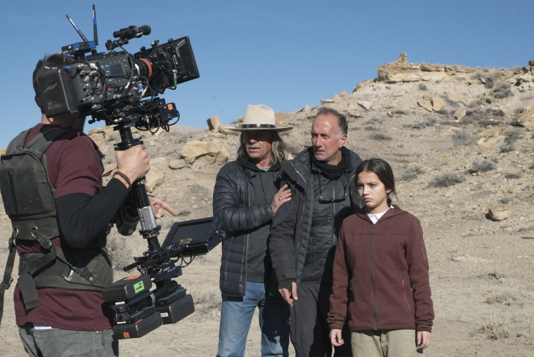 Image: Isabela Moner and director Stefano Sollima on the set of the movie 'Sicario: Day of the Soldado.'