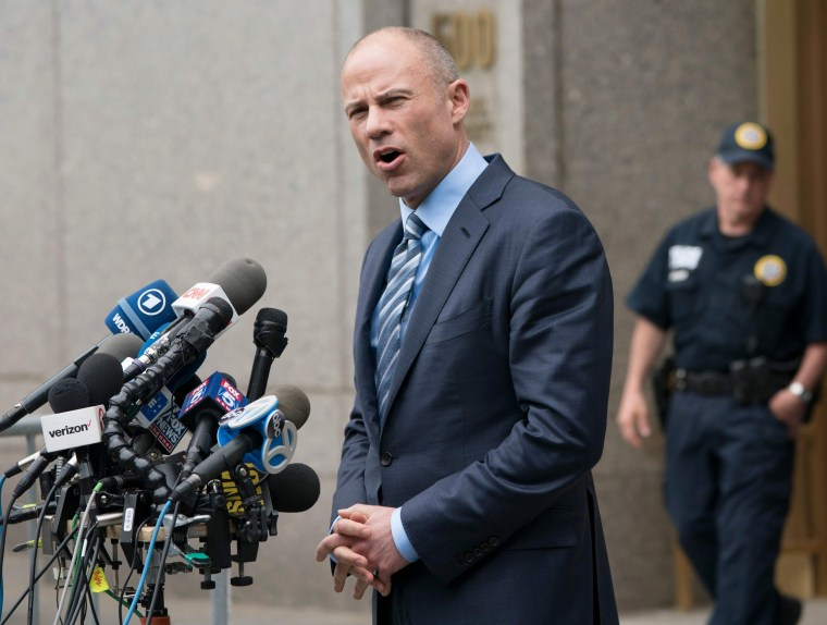 Image: Michael Avenatti speaks to reporters