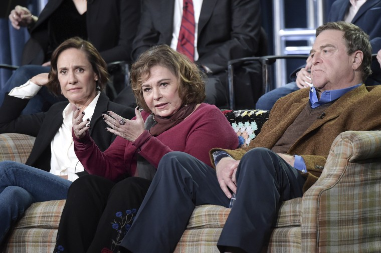 """Image: Laurie Metcalf, left, Roseanne Barr and John Goodman participate in the """"Roseanne"""" panel"""