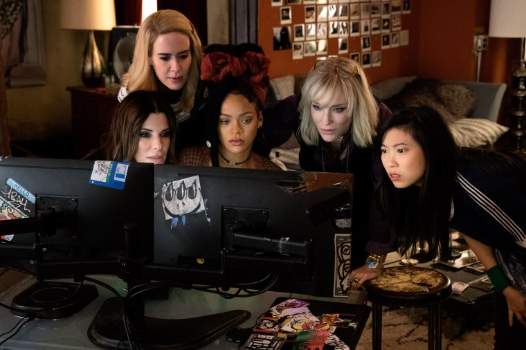 ImagE: Sandra Bullock as Debbie Ocean, Sarah Paulson as Tammy, Rihanna as Nine Ball, Cate Blanchett as Lou and Awkwafina as Constance in Ocean's 8.