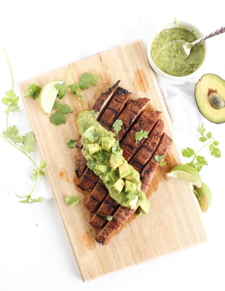 Simple Carne Asada with Avocado Chimichurri