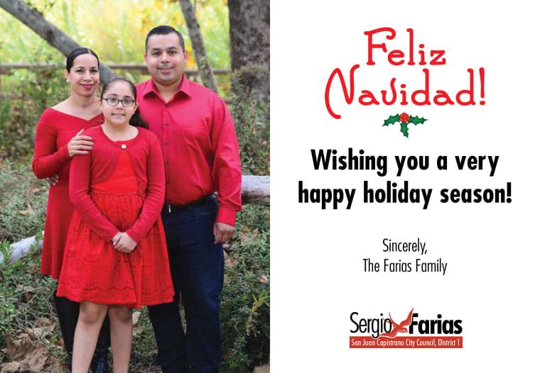 Image: San Juan Capistrano Mayor Sergio Farias' holiday card