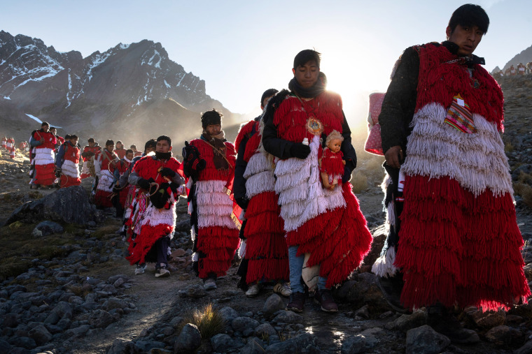 Image: Pablitos descend the mountain after a ceremony