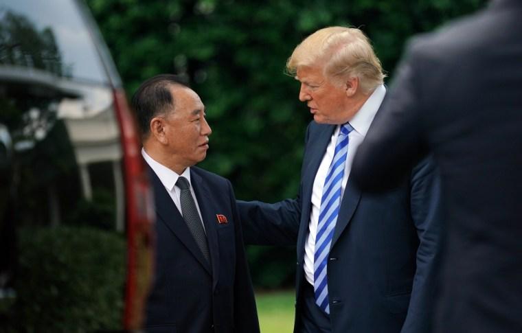 Image: Trump talks with Kim Yong Chol