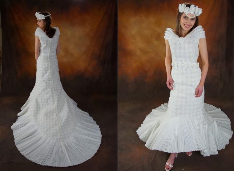 Toilet paper wedding dresses