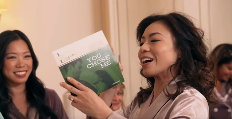 Linda Phan gets a special gift from her husband-to-be, Drew Scott, in the form of a tune.