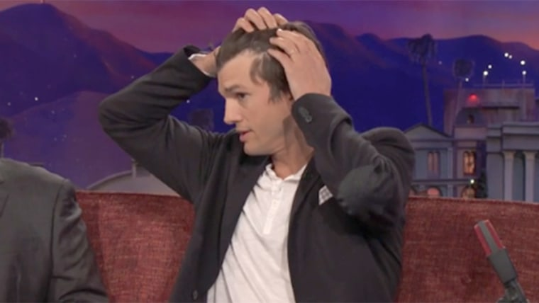 "Ashton Kutcher says his hair is thinning during appearance on ""Conan"""