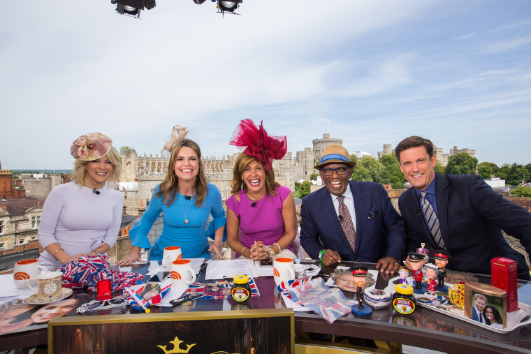 Megyn Kelly, Savannah Guthrie, Hoda Kotb, Al Roker and Keir Simmons for the wedding of Prince Harry and Meghan Markle at Windsor Castle