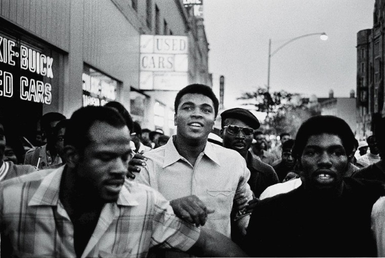 Image: American heavyweight boxing champion Muhammad Ali walks through the streets with members of the Black Panther Party, New York, Sept. 1970.