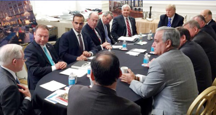 Image: A photo from Donald Trump's Instagram page shows George Papadopoulos, third from right, with then-presidential candidate Donald Trump