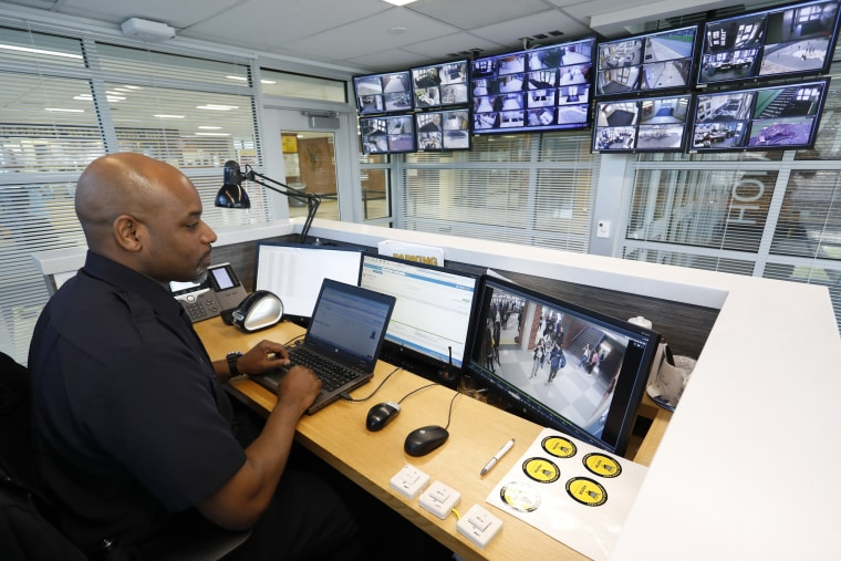 Image: A campus security office keeps watch over Shawnee Mission West High School