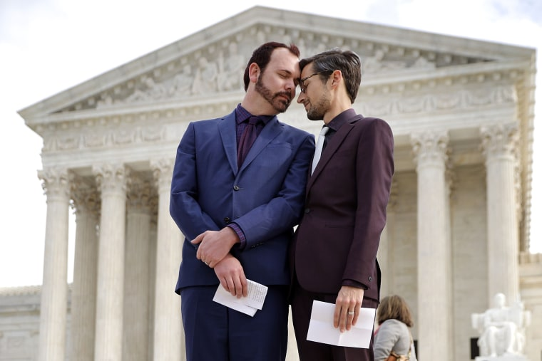 David Mullins and Charlie Craig outside the U.S. Supreme Court in 2017