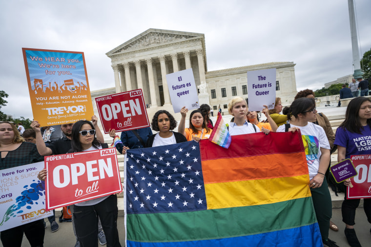 Image: American Civil Liberties Union supporters and other groups protest the Supreme Court decision