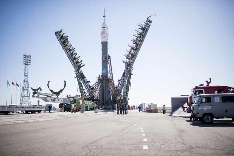 The rocket with astronauts launched at Baikonur. Photos from the scene 71
