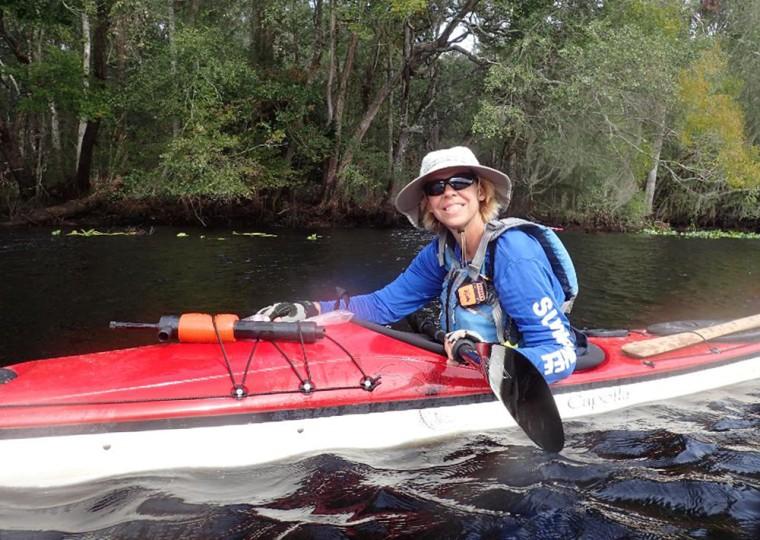 Image: Judy Perkins during a 1,200-mile kayaking trip around the state of Florida.