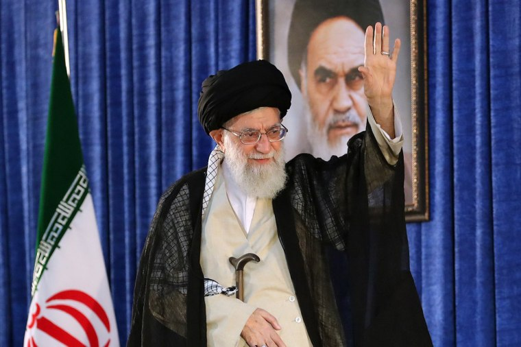 Image: Ayatollah Ali Khamenei greets the crowd
