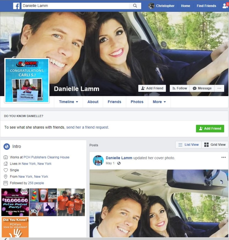 An imposter post that was found on Facebook using the name of Danielle Lam, a member of the well-known Publishers Clearing House Prize Patrol. Criminals use these pages to contact victims, making them believe they're a winner.