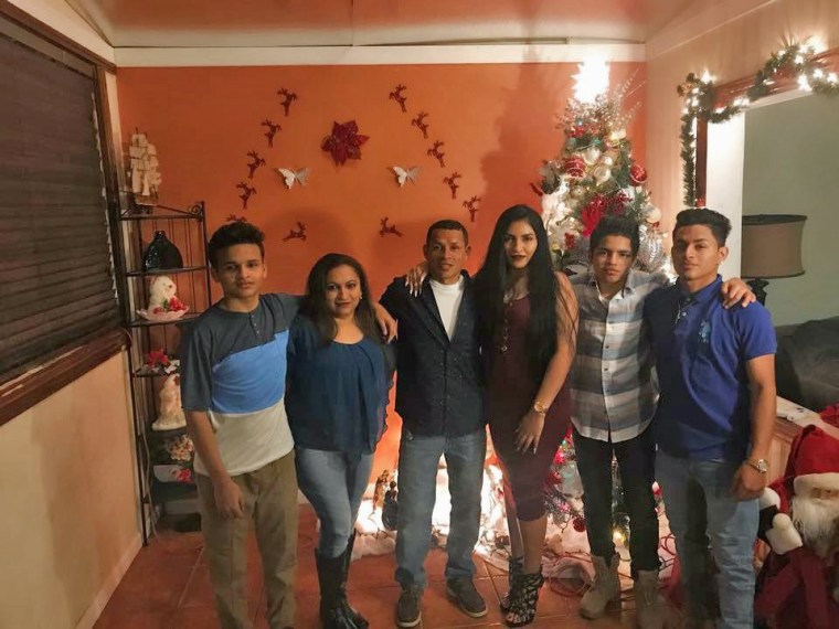 Josselin Contreras, her brothers and their parents at Christmas in 2017.