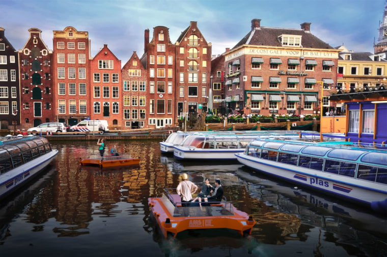 Image: A rendering of of autonomous boats in Amsterdam's canals