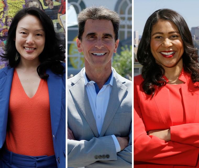 Image: San Francisco mayoral candidates Jane Kim, Mark Leno and London Breed