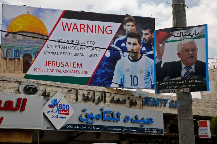 Image: West Bank sign featuring Lionel Messi