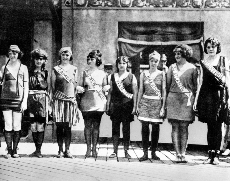 Contestants in the first Miss America pageant line up for the judges in Atlantic City in 1921