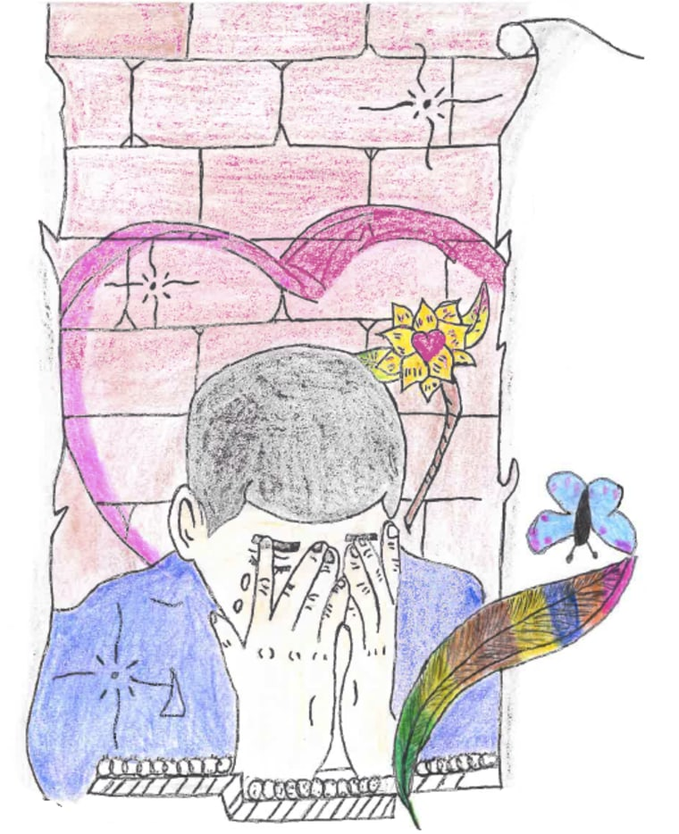 While Noeilia declined to share an image of himself, he shared a self-portrait that he said represents his experience in detention.
