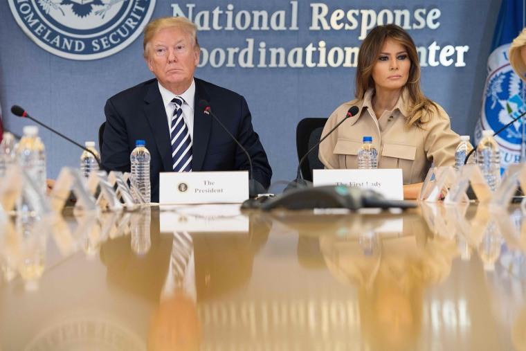 Image: Trump and Melania Trump visit FEMA headquarters