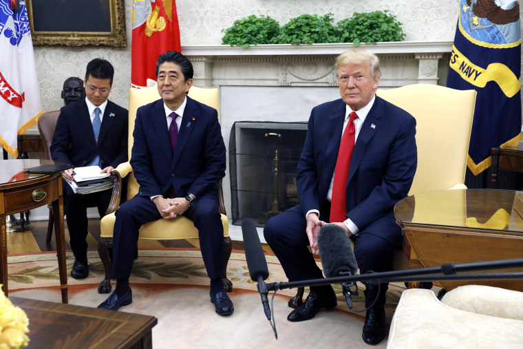Image: President Donald Trump meets with with Prime Minister of Japan Shinzo Abe
