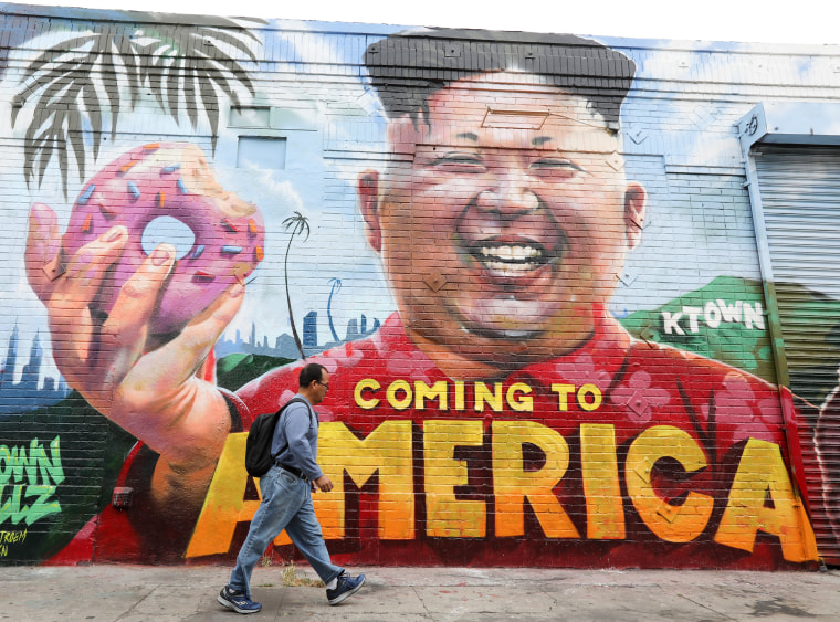Image: North Korean leader Kim Jong Un mural in Los Angeles