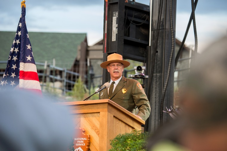 Image: Yellowstone National Park Superintendent Dan Wenk speaks at the National Park Service centennial celebration in Gardiner, Montana, Aug. 25, 2017.