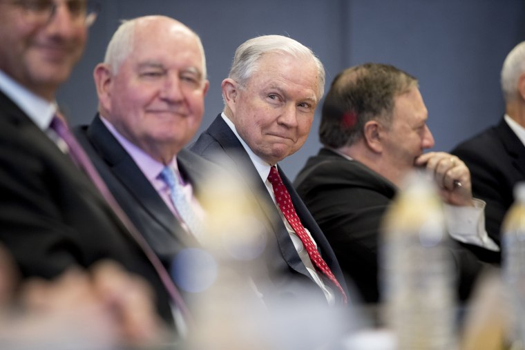 Image: Sonny Perdue, Jeff Sessions, Mike Pompeo