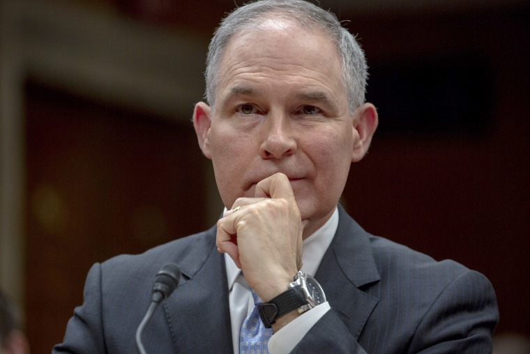 Image: EPA Administrator Scott Pruitt testifies during the Interior, Environment, and Related Agencies Subcommittee hearing on the proposed budget estimates and justification for FY2019 for the Environmental Protection Agency on Capitol Hill in Washington