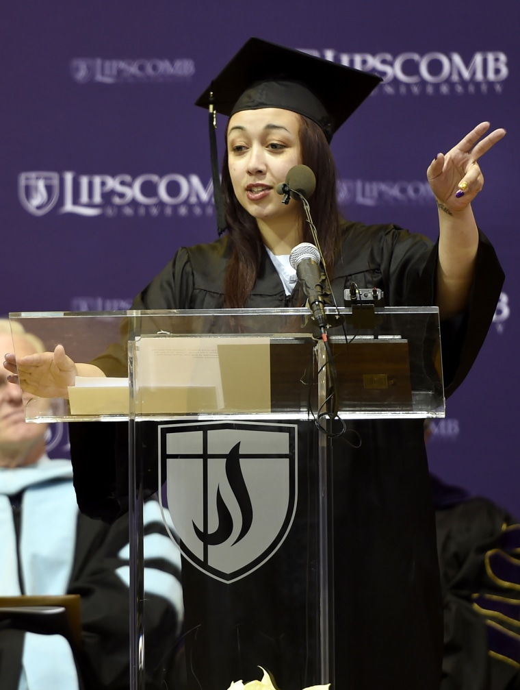 Image: Inmate Cyntoia Brown of the Tennessee Prison for Women delivers a commencement address before receiving her associate degree from Lipscomb University, Dec. 18, 2015.