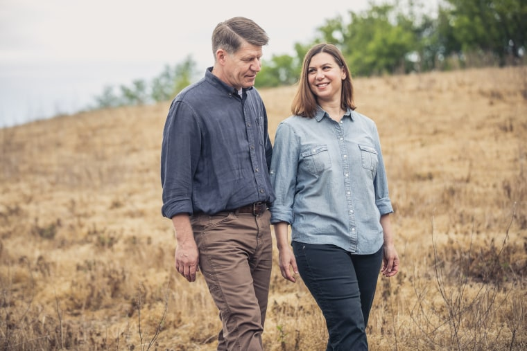 Image: Elissa Slotkin with her husband on their farm.
