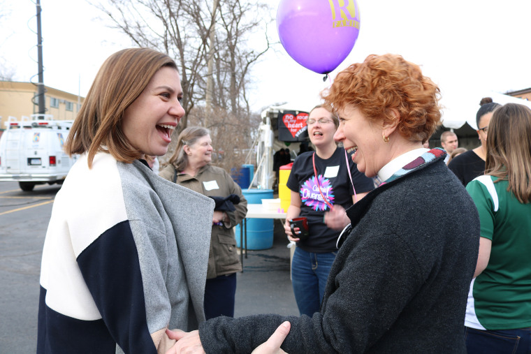 Image: Elissa Slotkin meeting with constituents.