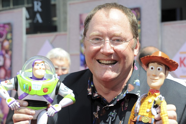 """In this June 13, 2010, file photo, John Lasseter arrives at the world premiere of """"Toy Story 3,"""" at The El Capitan Theater in Los Angeles."""