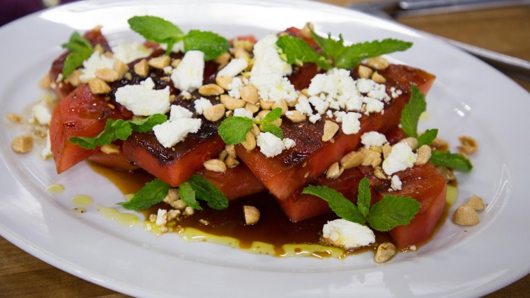 Grilled Watermelon Salad  with Feta, Almonds and Mint