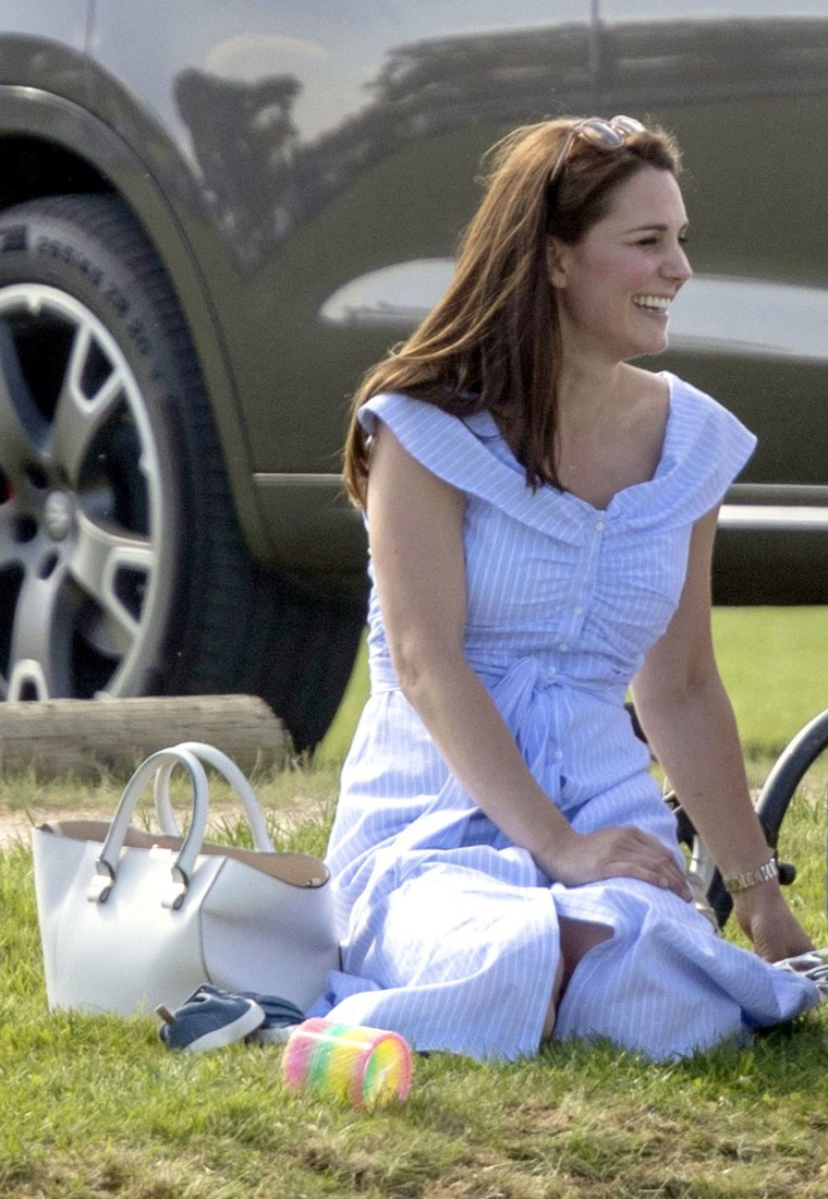 Catherine, Duchess of Cambridge, blue and white polo match dress