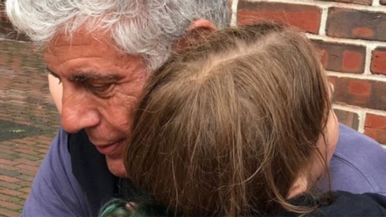 Anthony Bourdain with daughter