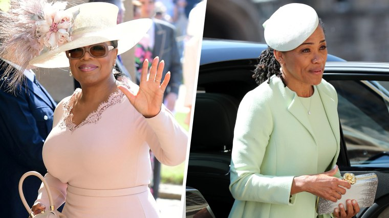 Oprah Winfrey arrives at St George's Chapel at Windsor Castle for the wedding of Meghan Markle and Prince Harry.  Saturday May 19, 2018 / Doria Ragland arrives for the wedding ceremony of Britain's Prince Harry, Duke of Sussex and US actress Meghan Markle
