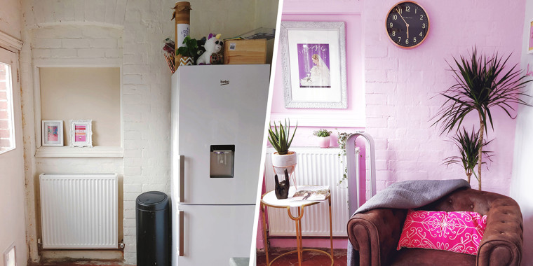 Pink kitchen before and after