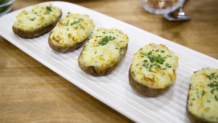 Ryan Scott's Peppercorn-Crusted NY Strip Steak, Twice-Baked Stuffed Potatoes, Triple Coconut White Chocolate Cream Pie
