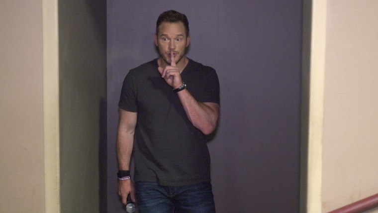 Chris Pratt is about to surprise an audience full of young fans.