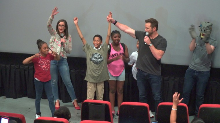 Chris Pratt joined some of the excited kids onstage.