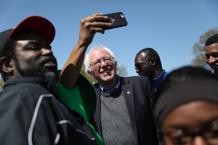 Sen. Bernie Sanders attends an event to mark the 50th anniversary of Dr. Martin Luther King Jr.'s assassination