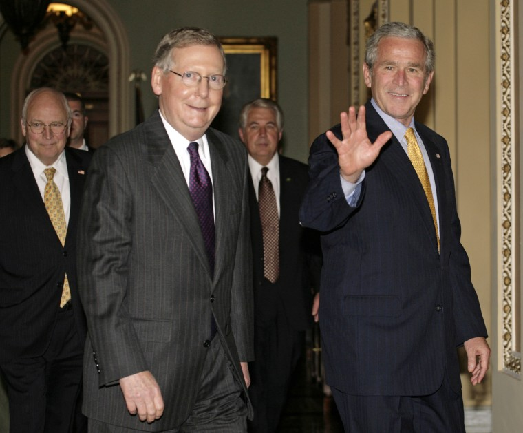 President Bush arrives for the Senate Republican Policy Lunch on Capitol Hill