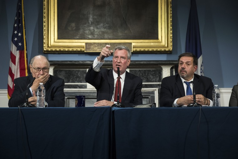 Image: Bill de Blasio speaks about public housing during a press conference at City Hall